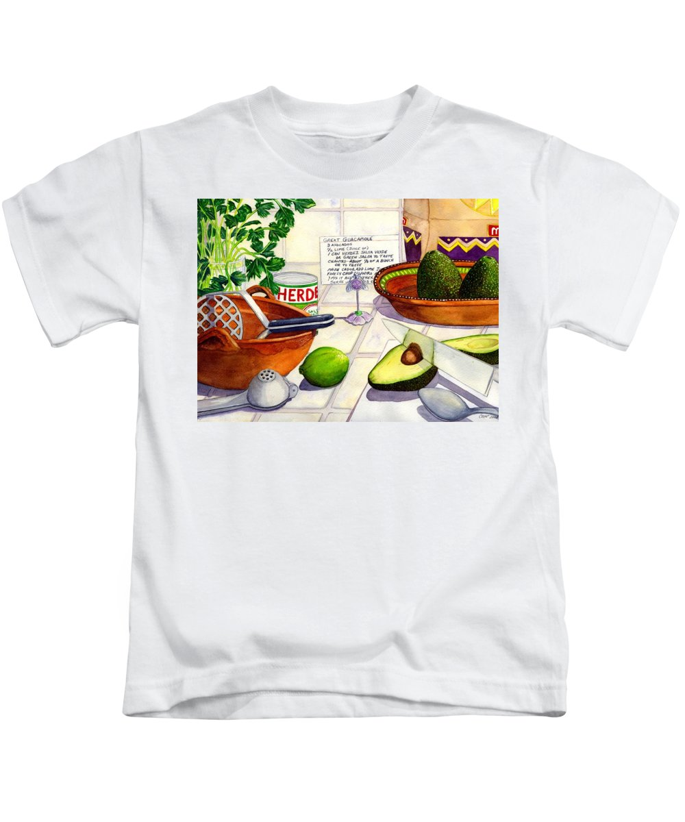 Guacamole Kids T-Shirt featuring the painting Great Guac. by Catherine G McElroy