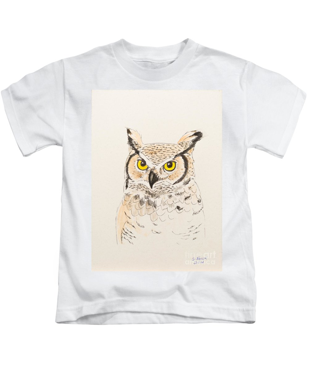 Great Horned Owl Kids T-Shirt featuring the painting Great Horned Owl by Stefanie Forck