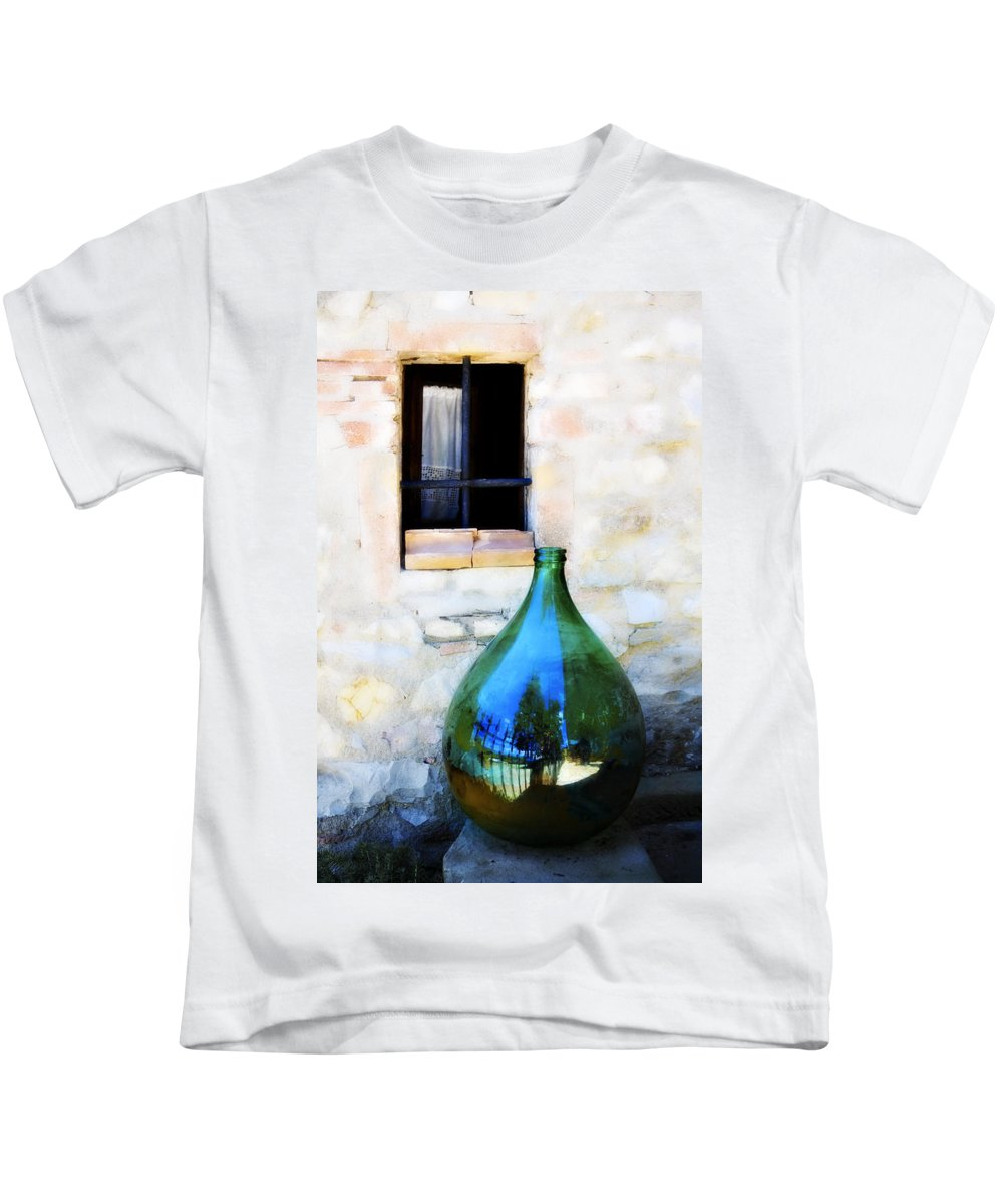 Bottle Kids T-Shirt featuring the photograph Green Bottle Italian Window by Marilyn Hunt