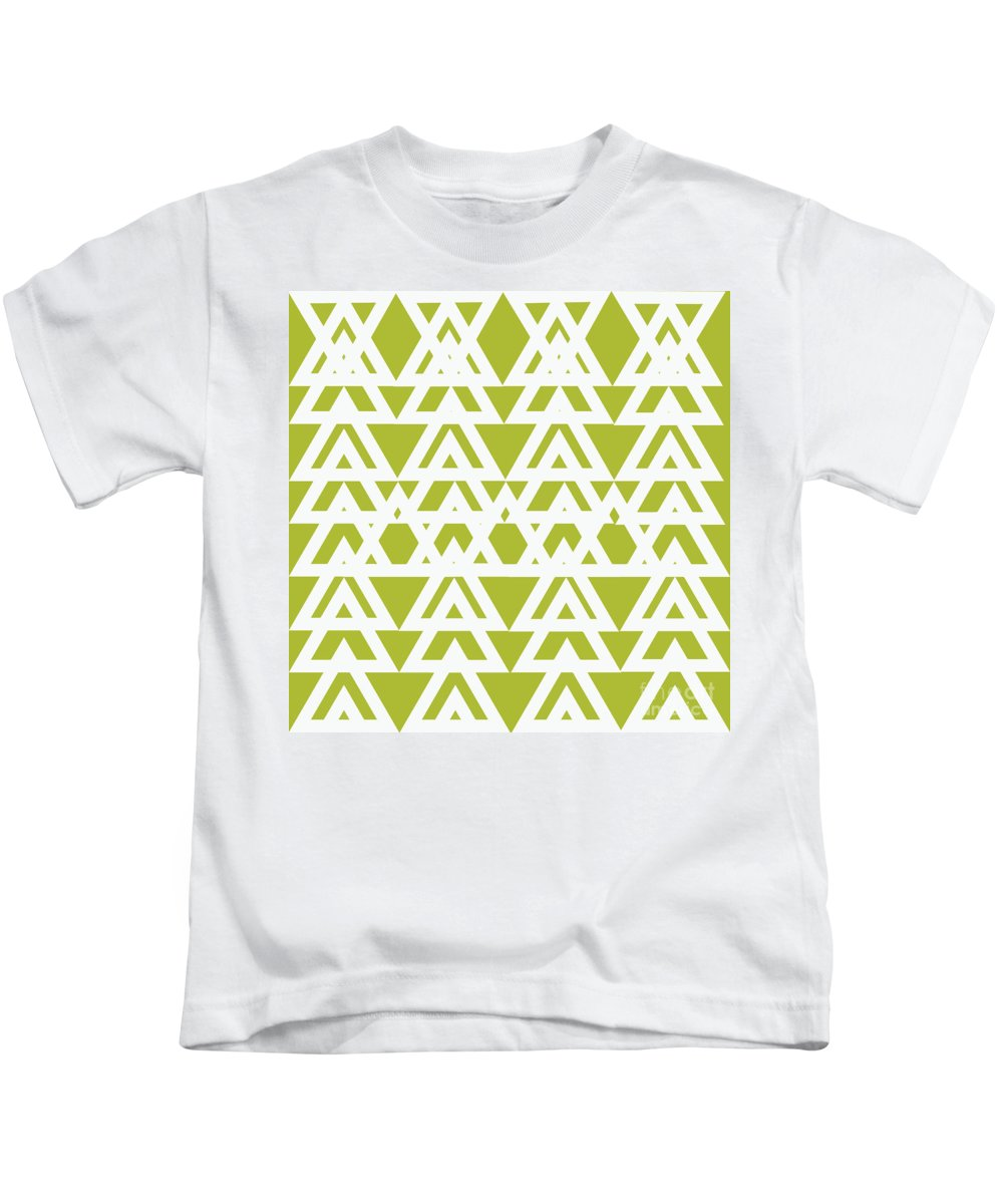 Green Kids T-Shirt featuring the painting Green Graphic Diamond Pattern by Saundra Myles