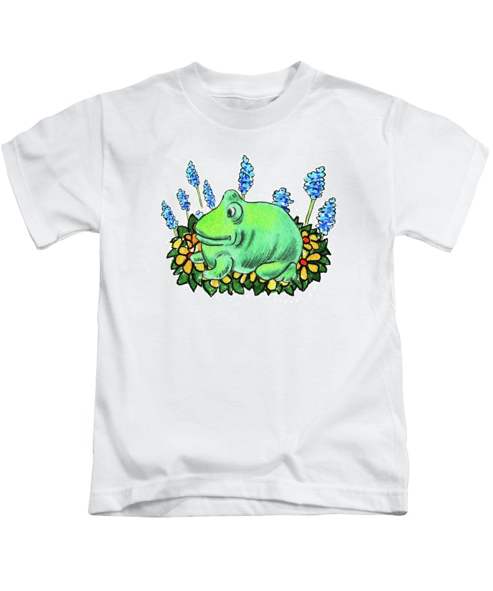 Green Happy Frog Kids T-Shirt featuring the painting Green Happy Frog by Irina Sztukowski