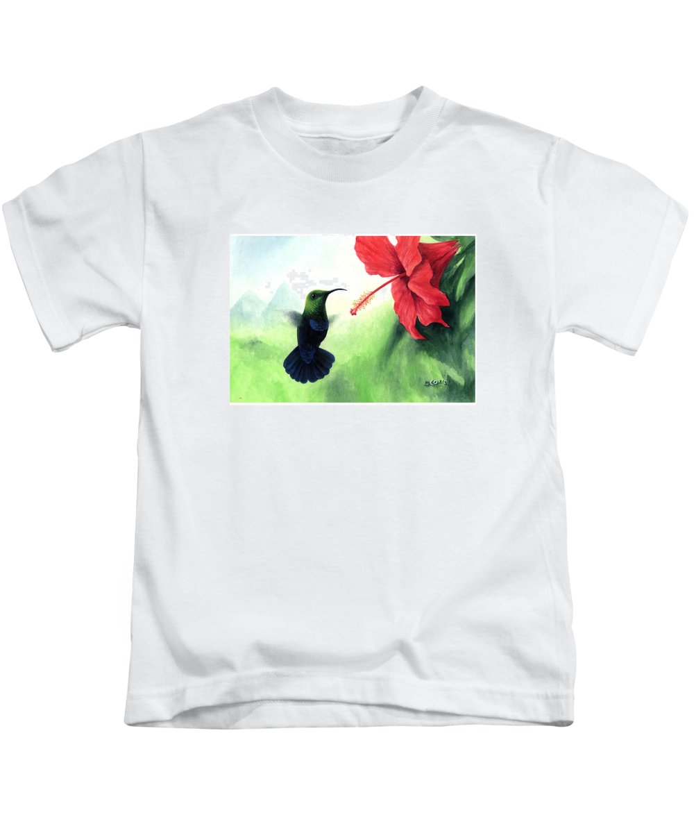 Chris Cox Kids T-Shirt featuring the painting Green-throated Carib Hummingbird And Red Hibiscus by Christopher Cox