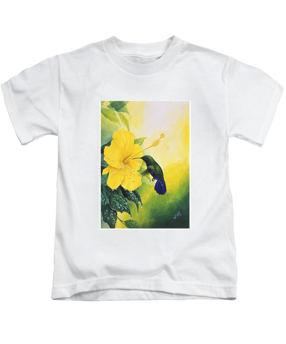 Chris Cox Kids T-Shirt featuring the painting Green-throated Carib Hummingbird And Yellow Hibiscus by Christopher Cox