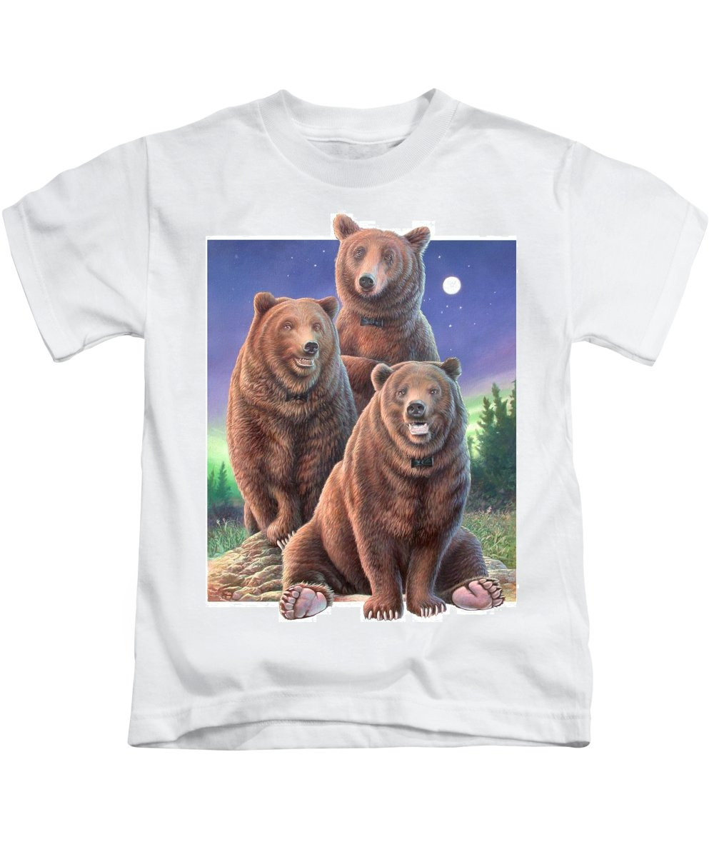 Grizzly Kids T-Shirt featuring the painting Grizzly Bears In Starry Night by Hans Droog