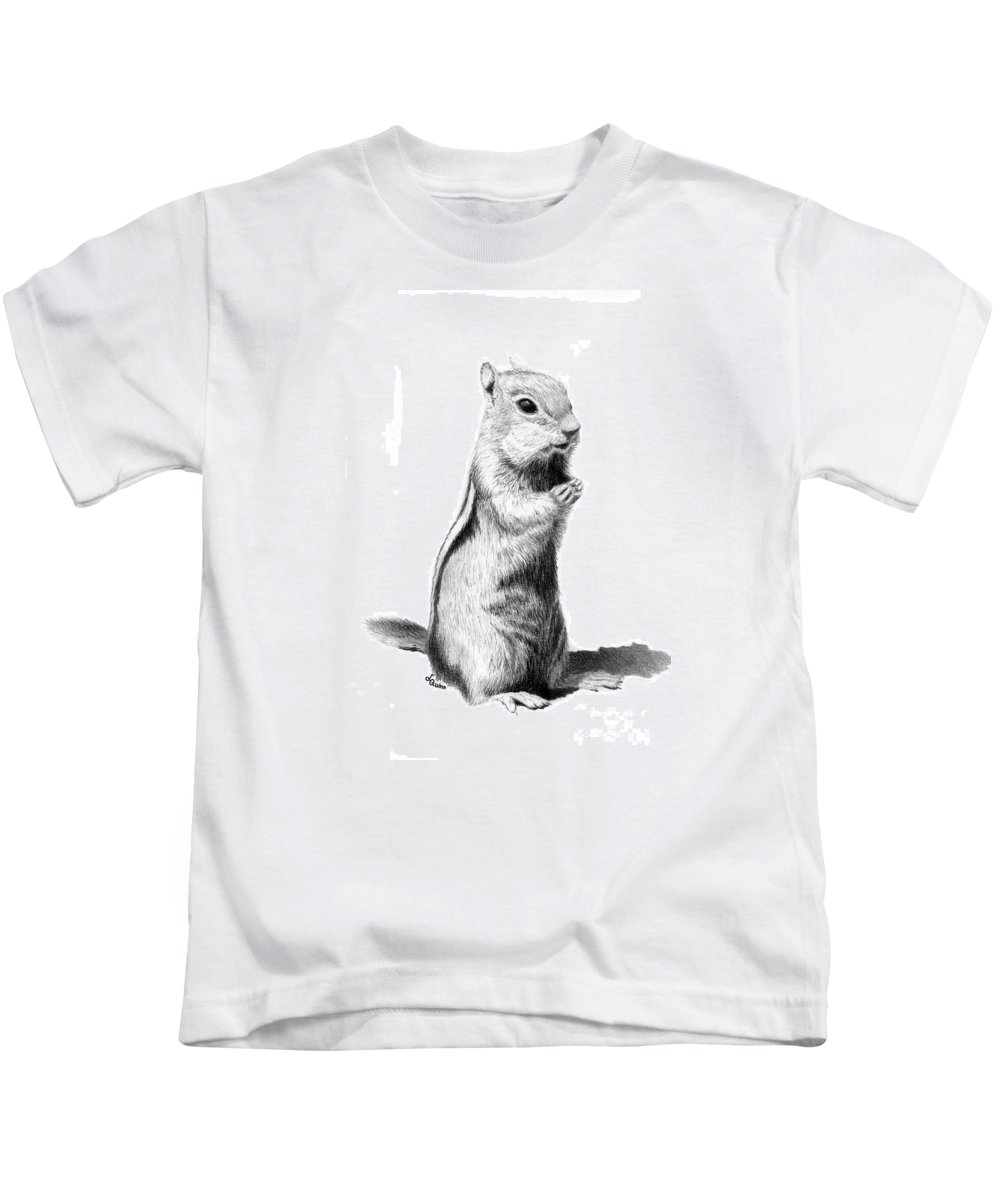Ground Squirrel Kids T-Shirt featuring the drawing Ground Squirrel by Lynn Quinn