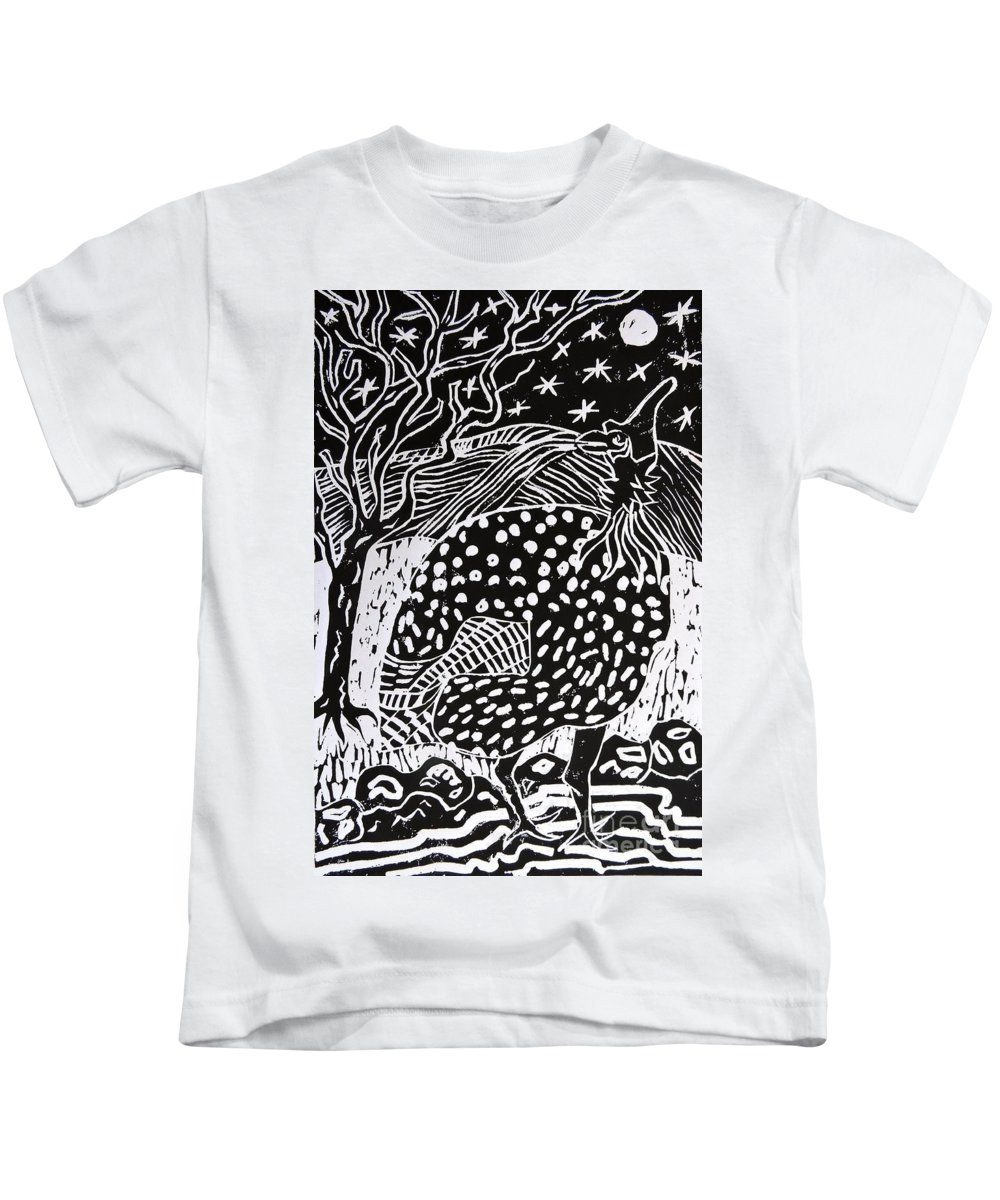 Fowl Kids T-Shirt featuring the relief Guinea Fowl Under The Stars by Caroline Street