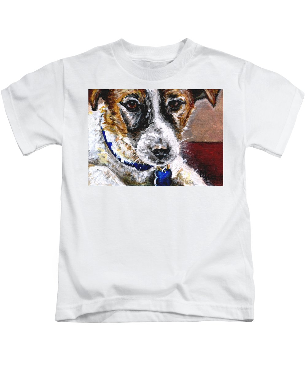 Chartiy Kids T-Shirt featuring the painting Gunter From Muttville by Mary-Lee Sanders