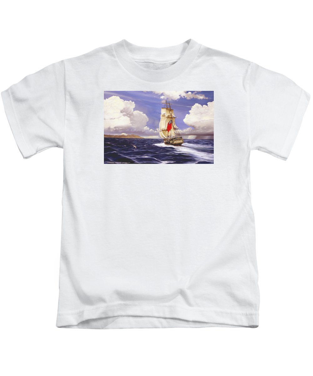 Marine Kids T-Shirt featuring the painting H. M. S. Bounty At Tahiti by Marc Stewart