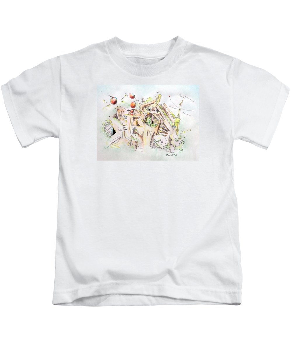 City Kids T-Shirt featuring the painting Habitat by Dave Martsolf
