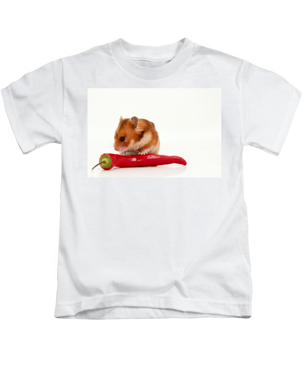 Hamster Kids T-Shirt featuring the photograph Hamster Eating A Red Hot Pepper by Yedidya yos mizrachi
