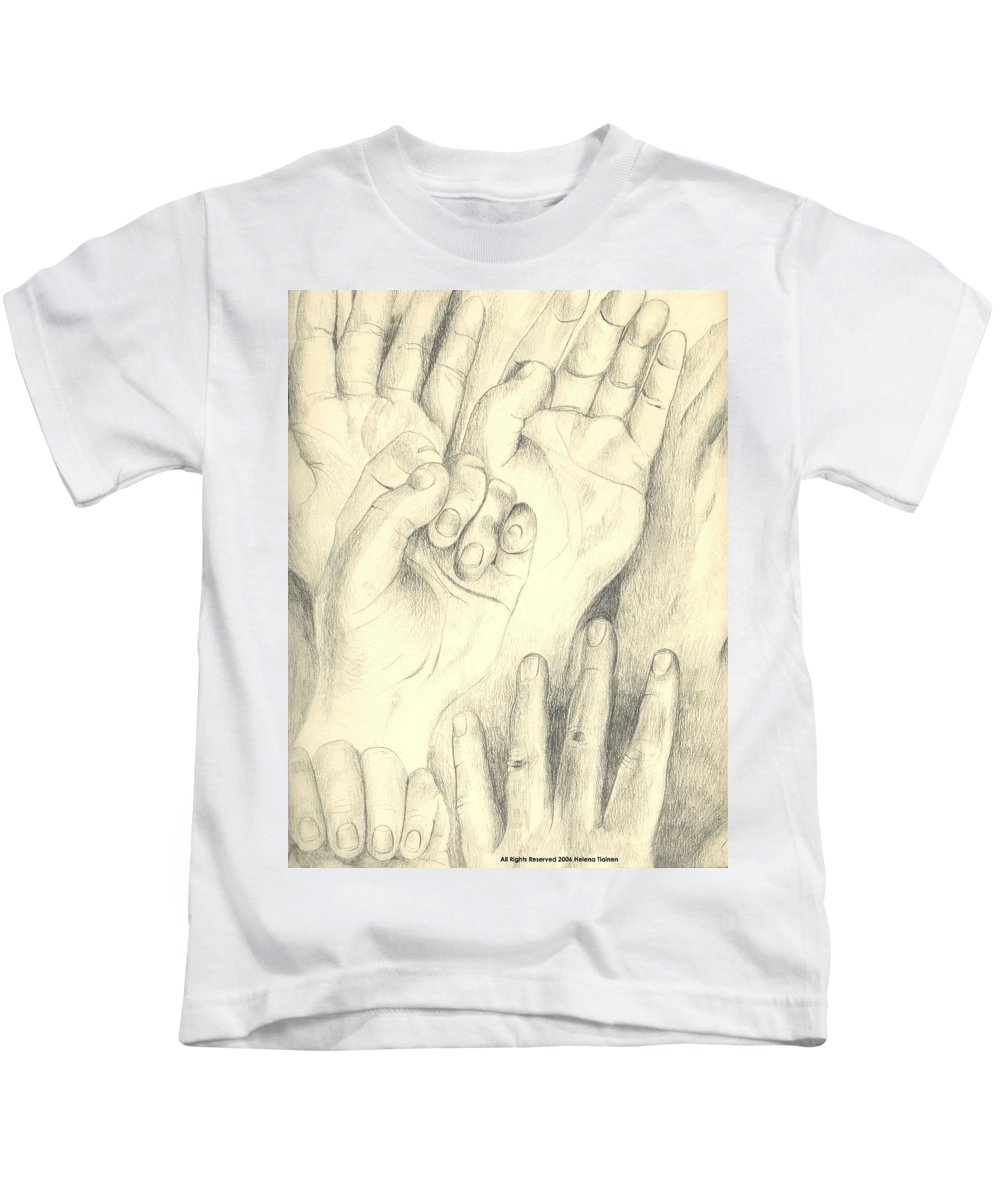 Hands Kids T-Shirt featuring the drawing Hands by Helena Tiainen