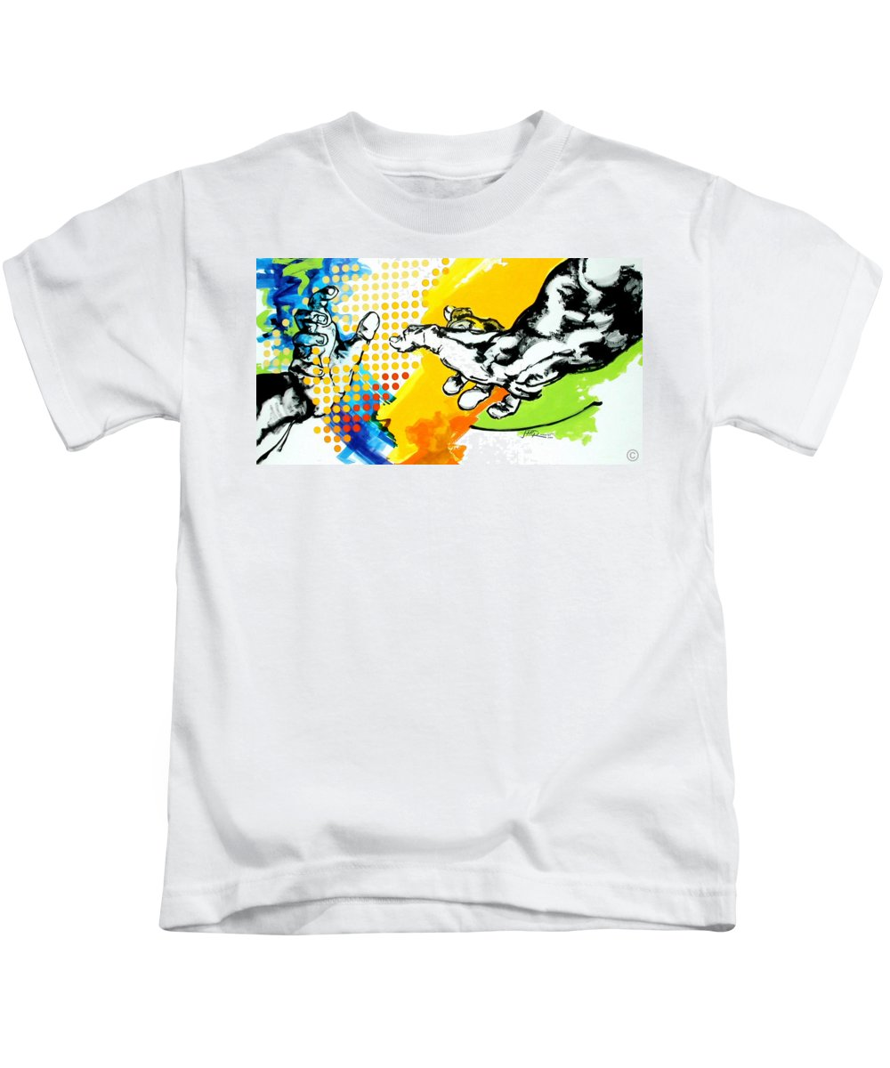 Classic Kids T-Shirt featuring the painting Hands by Jean Pierre Rousselet