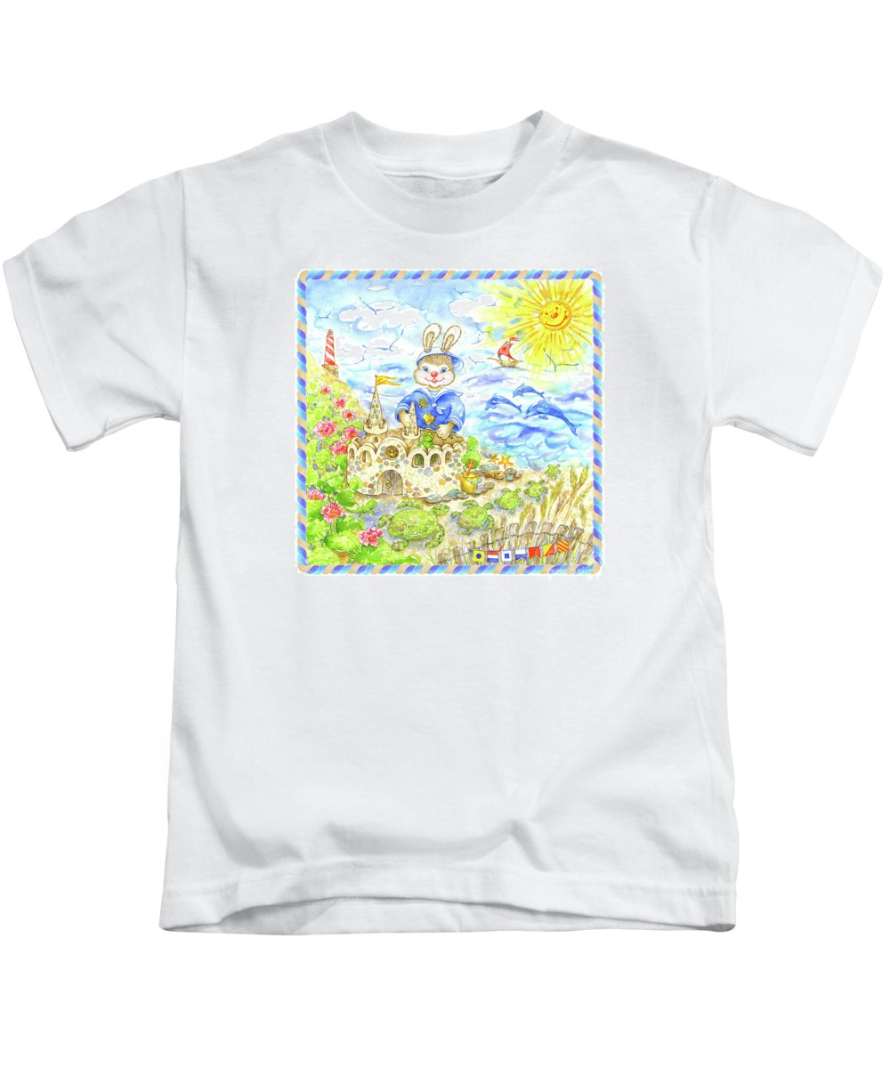 Navy For Kids Kids T-Shirt featuring the painting Happy Bunny Building Castle by Svetlana Titarenko