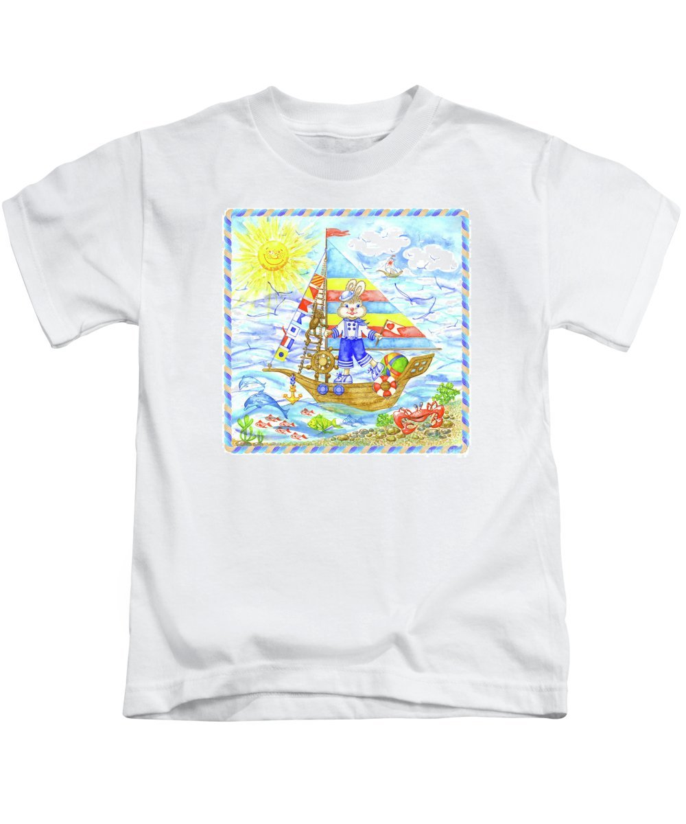 Navy Theme For Kids Rooms Kids T-Shirt featuring the painting Happy Bunny On The Boat by Svetlana Titarenko