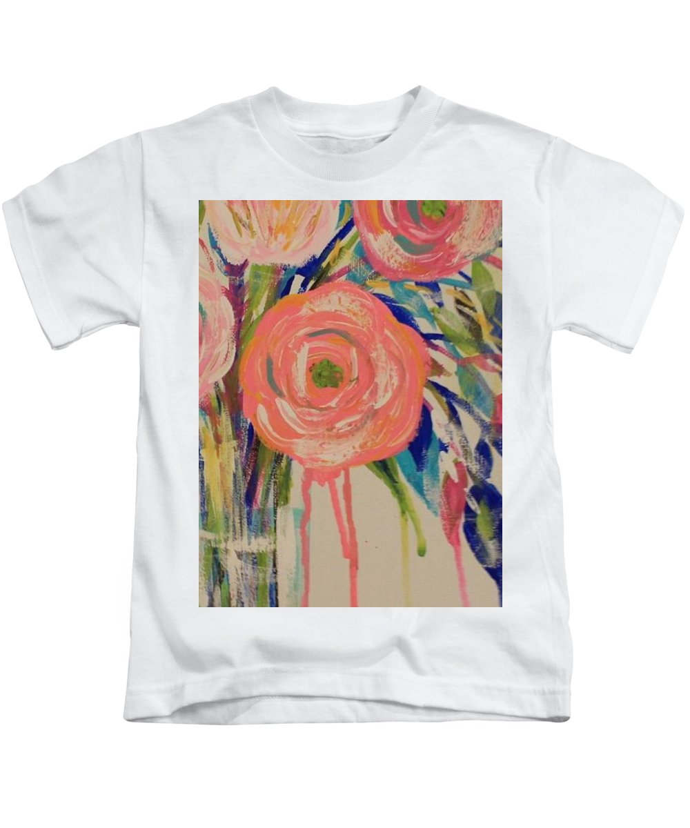 Floral Kids T-Shirt featuring the painting Happy Day by Melisa Farthing