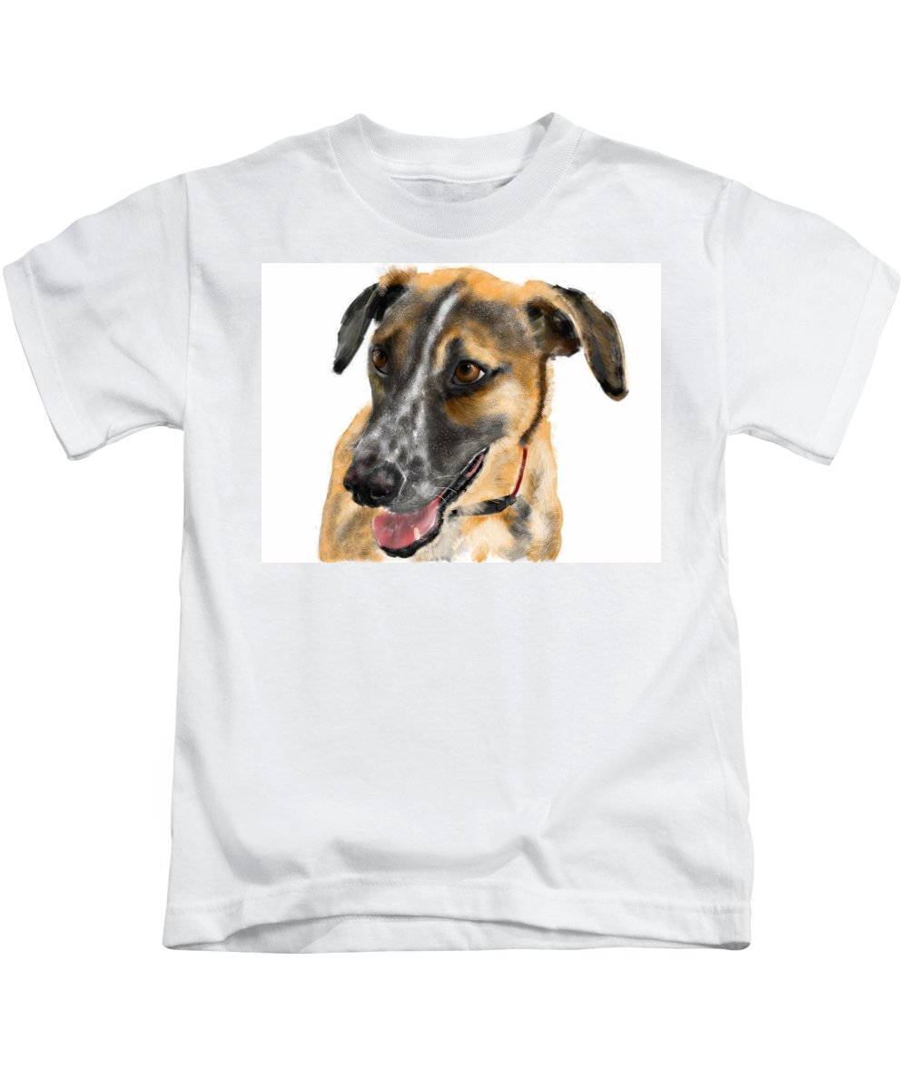 Dogs Kids T-Shirt featuring the painting Happy Ears by Lois Ivancin Tavaf