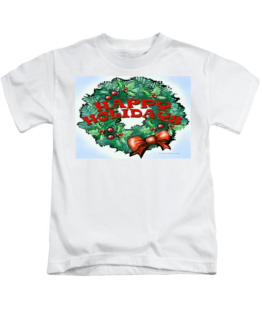Happy Holidays Kids T-Shirt featuring the greeting card Happy Holidays by Kevin Middleton