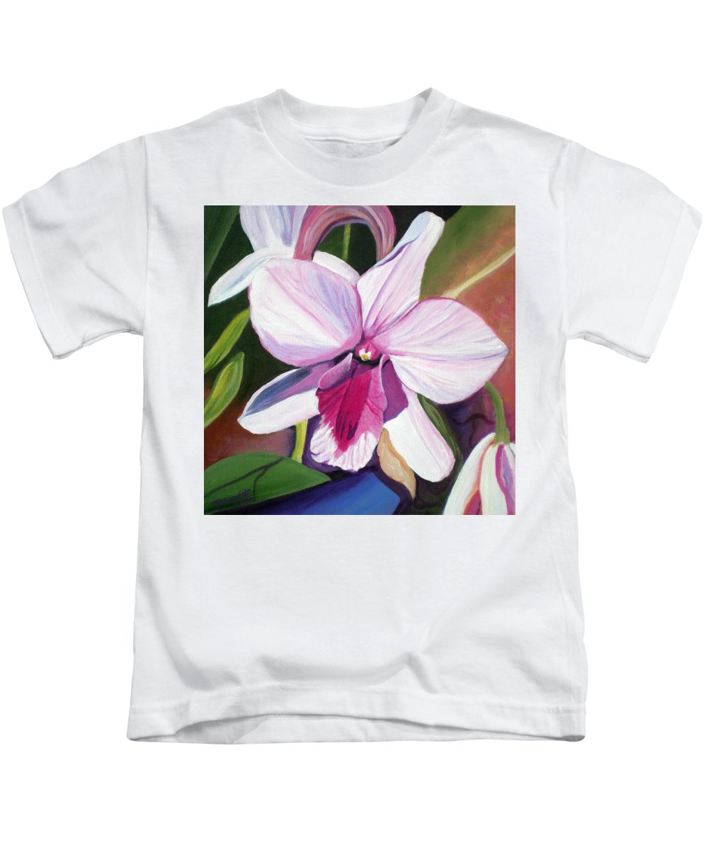 Kauai Kids T-Shirt featuring the painting Happy Orchid by Marionette Taboniar