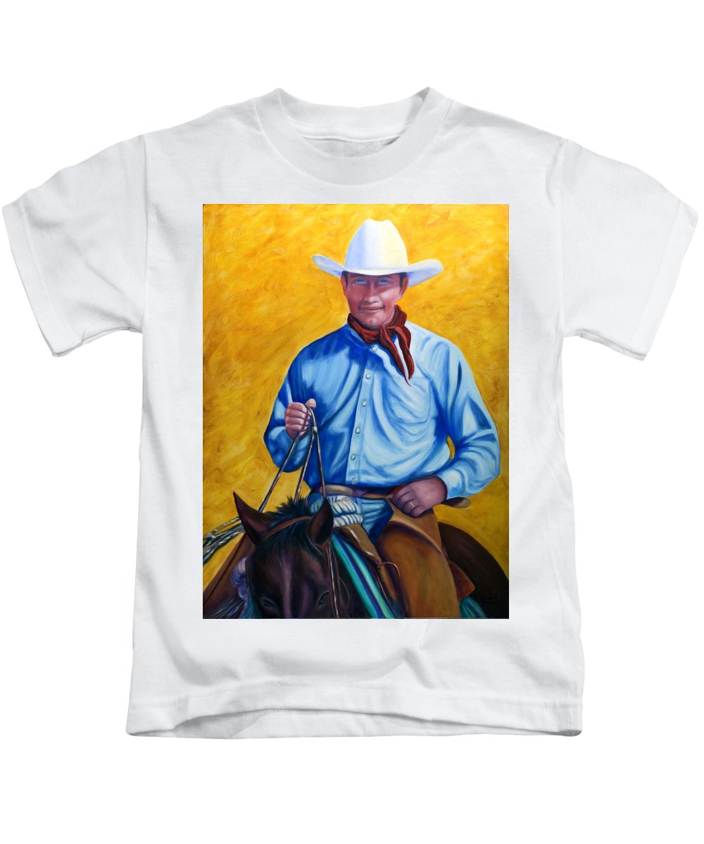 Cowboy Kids T-Shirt featuring the painting Happy Trails by Shannon Grissom