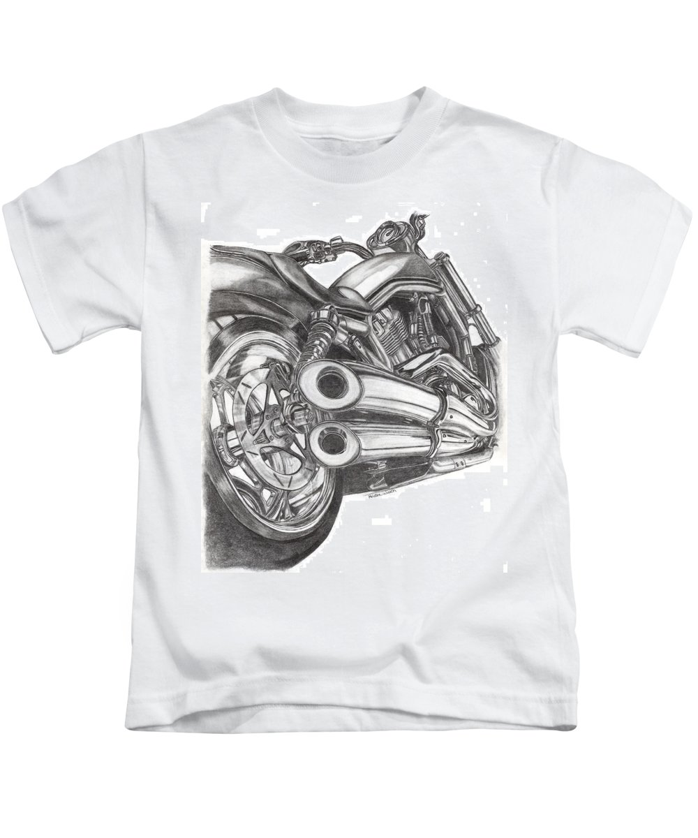 Harley Davidson Kids T-Shirt featuring the drawing Harley by Kristen Wesch