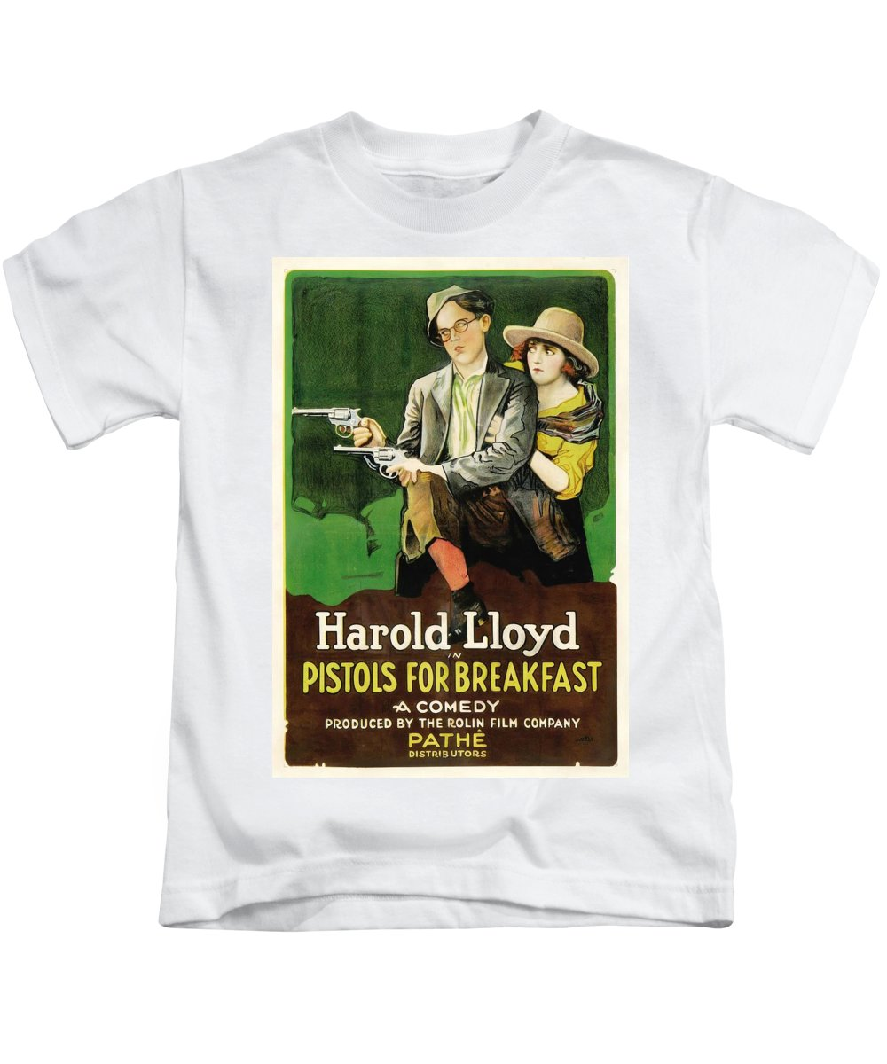 Movie Kids T-Shirt featuring the drawing Harold Lloyd In Pistols For Breakfast 1919 by Mountain Dreams