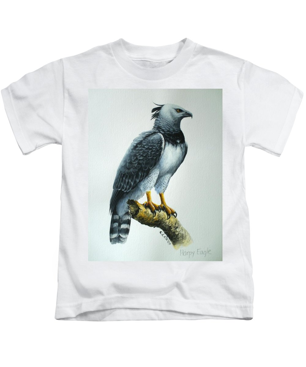 Harpy Eagle Kids T-Shirt featuring the painting Harpy Eagle by Christopher Cox