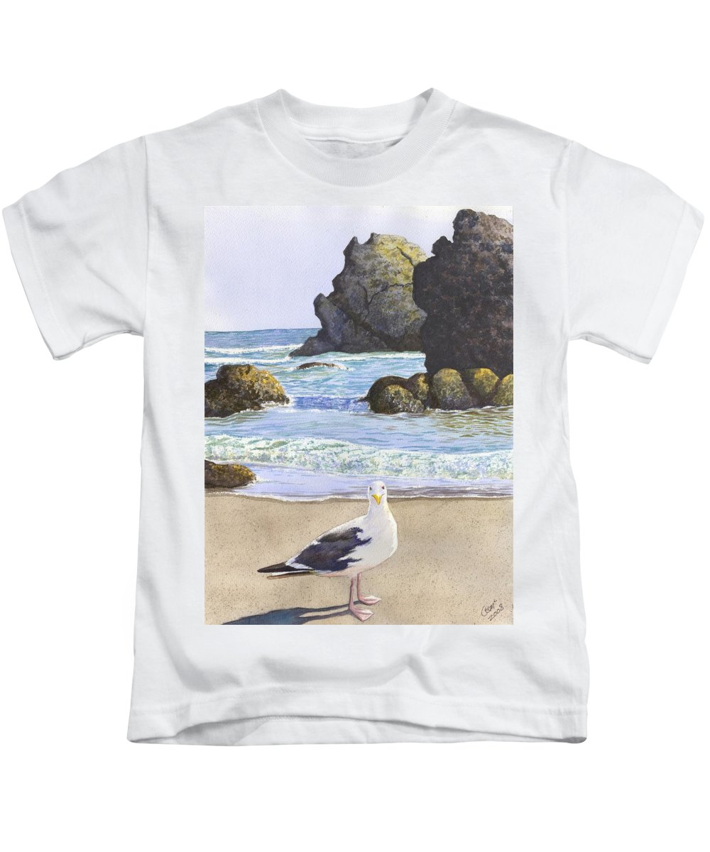 Oregon Coast Kids T-Shirt featuring the painting Harris Beach by Catherine G McElroy