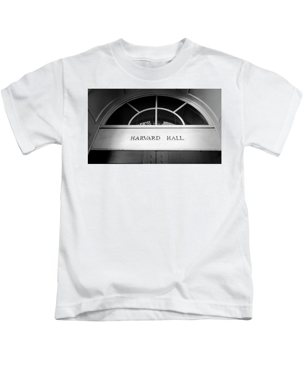 Harvard Kids T-Shirt featuring the photograph Harvard Hall by Stephen Stookey