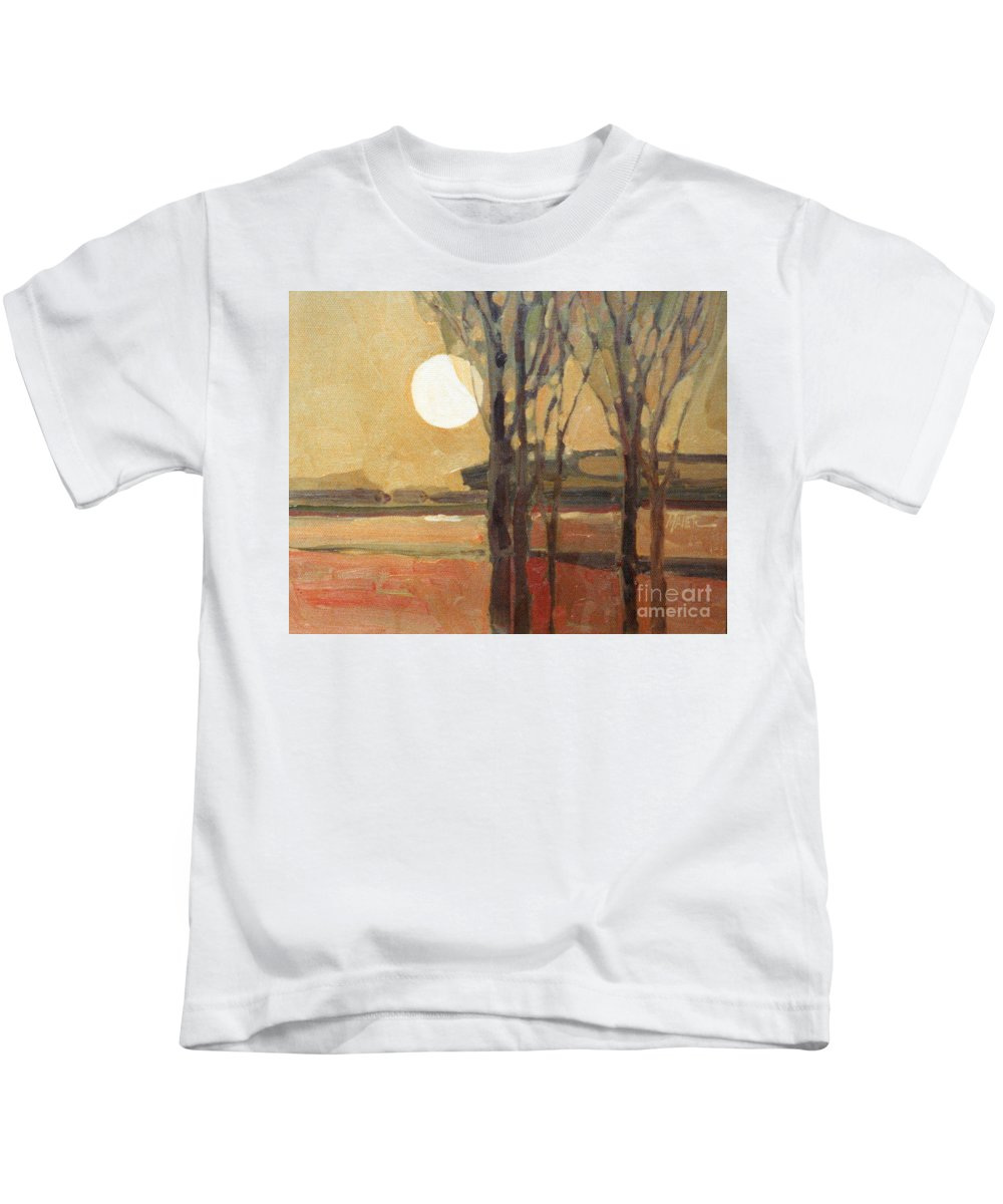 Sunset Kids T-Shirt featuring the painting Harvest Moon by Donald Maier