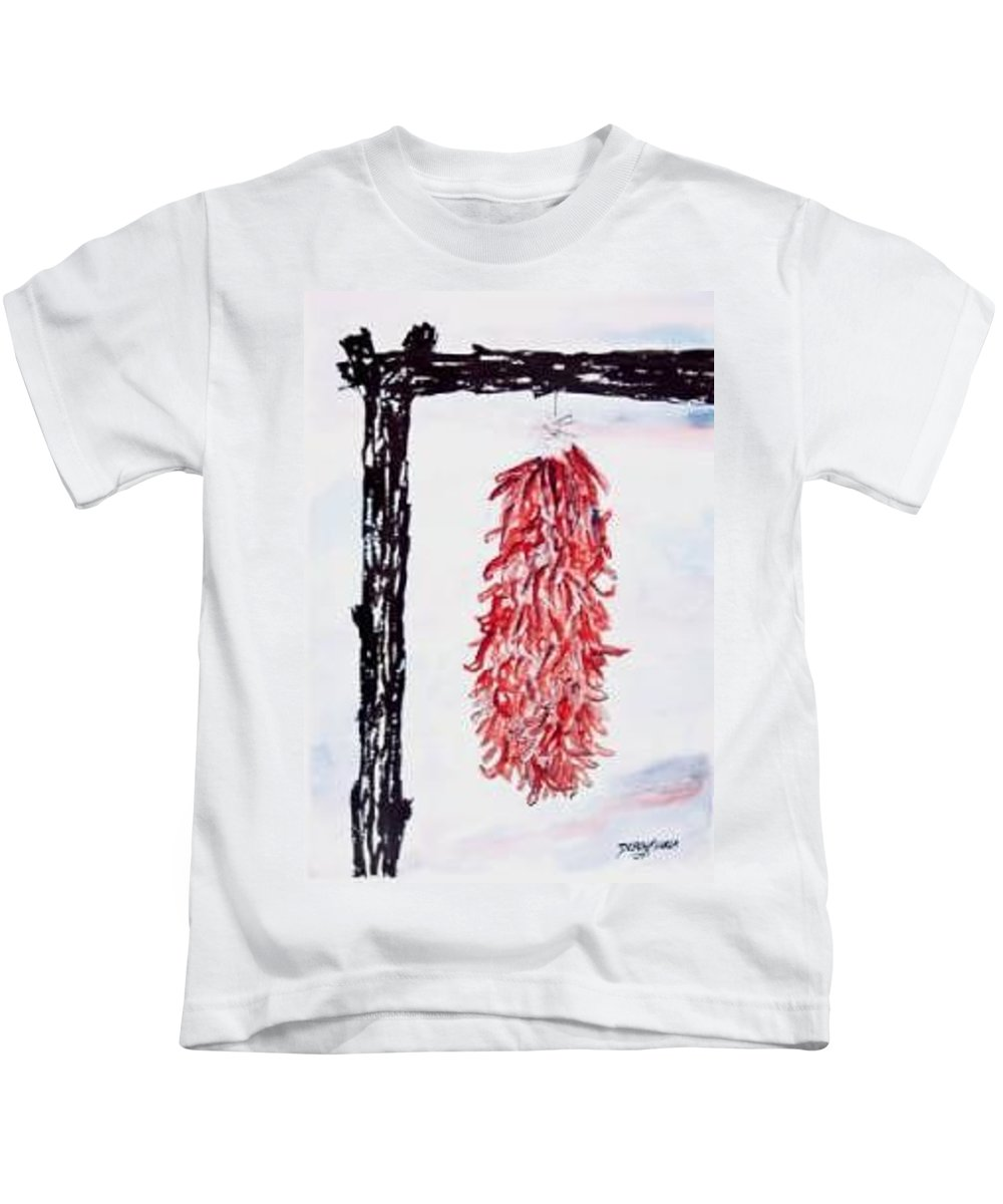 Watercolor Painting Kids T-Shirt featuring the painting Hatch Texas Chili Pepper painting by Derek Mccrea
