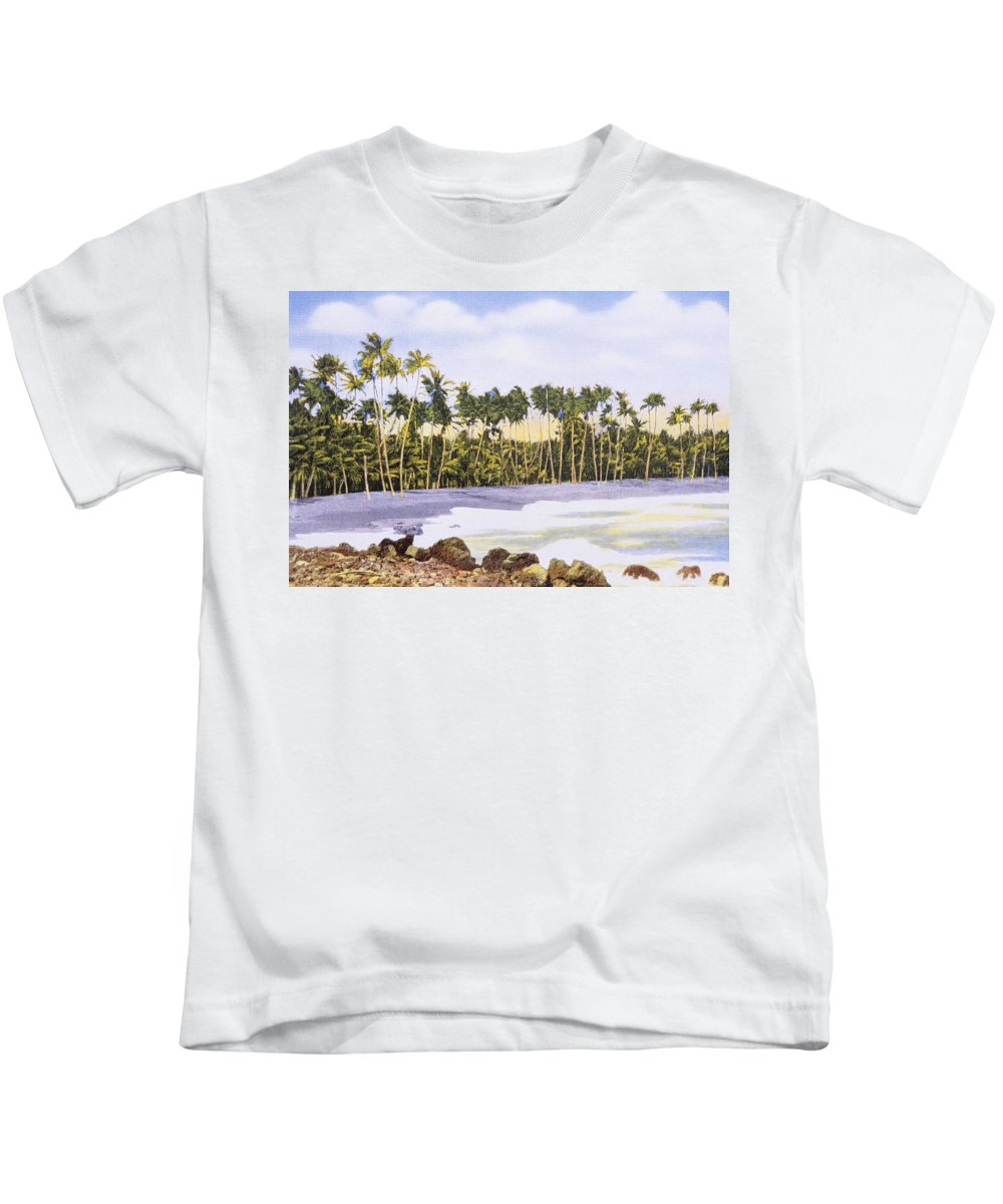 1930 Kids T-Shirt featuring the painting Hawaii Postcard by Hawaiian Legacy Archive - Printscapes