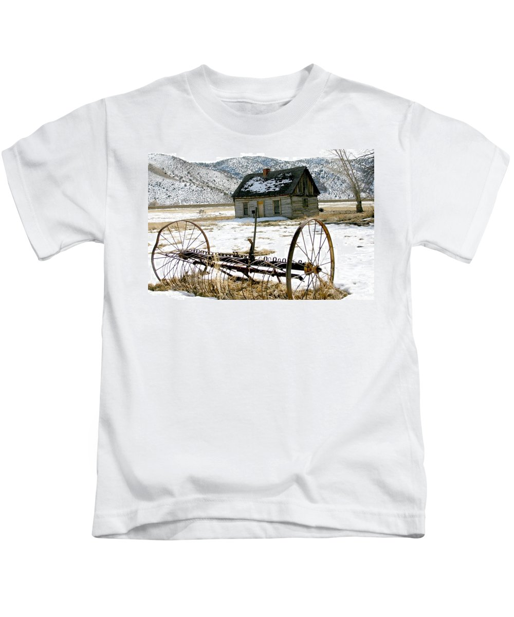 Utah Kids T-Shirt featuring the photograph Hay Rake At Butch Cassidy by Nelson Strong