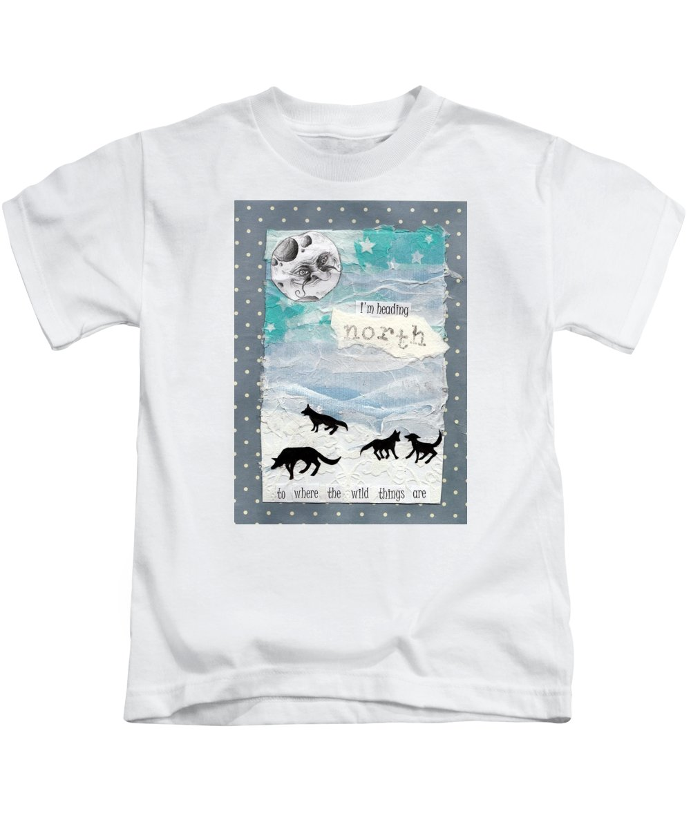 Holly Brook Illustration Moon Wolf Snow Ice Collage Kids T-Shirt featuring the mixed media Heading North by Sylvie Boersma
