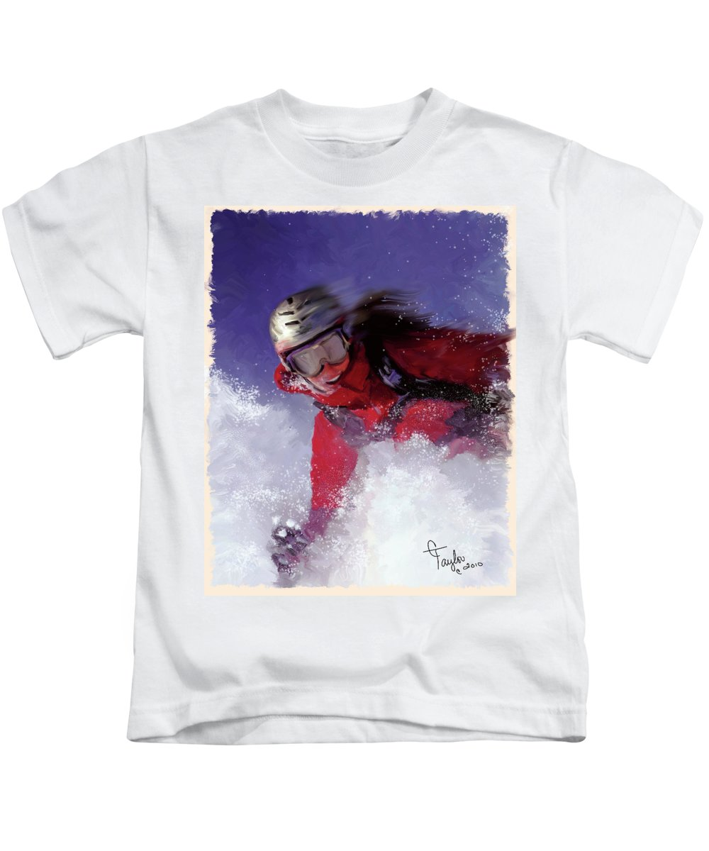 Ski Kids T-Shirt featuring the painting Hell Bent For Powder by Colleen Taylor
