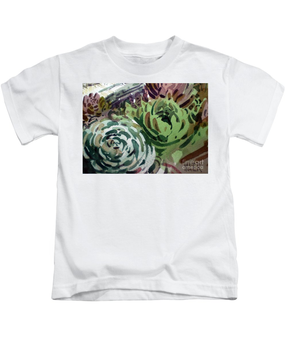 Succulent Plants Kids T-Shirt featuring the painting Hen And Chicks by Donald Maier