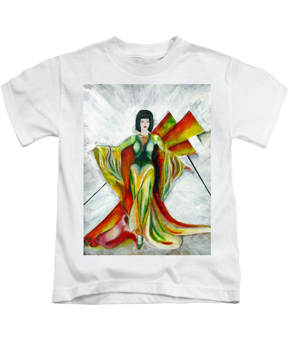 Dress Kids T-Shirt featuring the painting Here Comes The Sun by Tom Conway