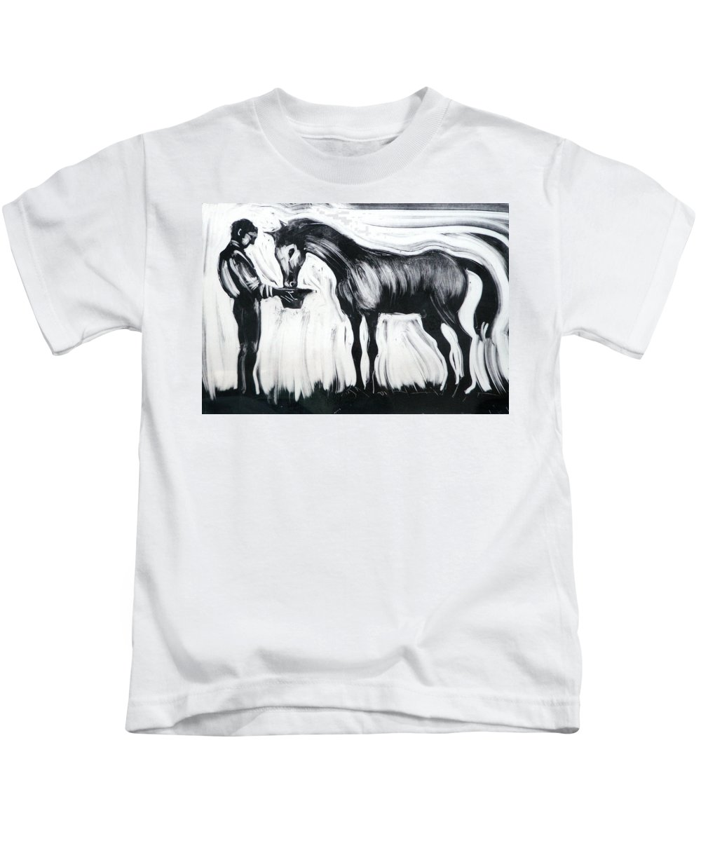 Horse Kids T-Shirt featuring the painting Here's All I Have by Laura Lee Cundiff