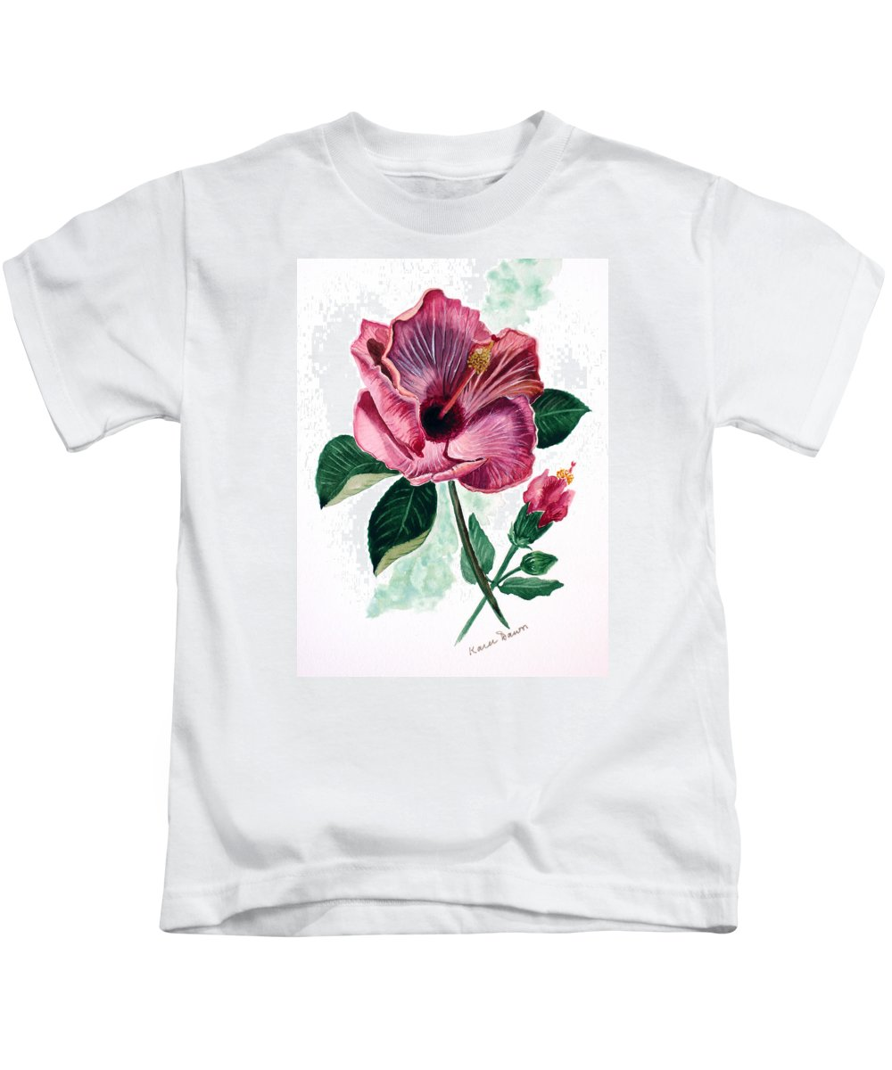 Flora Painting L Hibiscus Painting Pink Flower Painting Greeting Card Painting Kids T-Shirt featuring the painting Hibiscus Dusky Rose by Karin Dawn Kelshall- Best