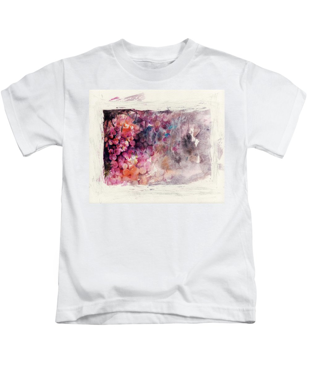 Grapes Kids T-Shirt featuring the painting Hidden Beauty by Rachel Christine Nowicki