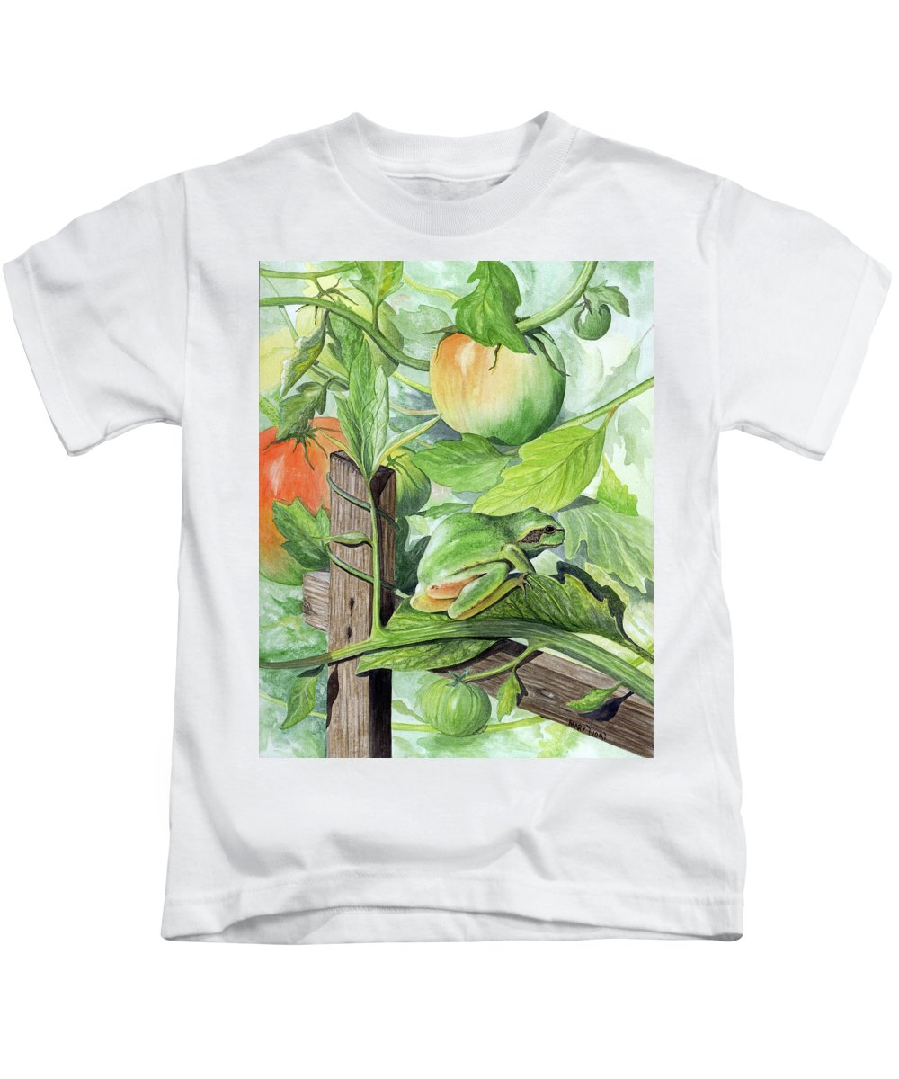 Frog Kids T-Shirt featuring the painting Hidden II by Mary Tuomi