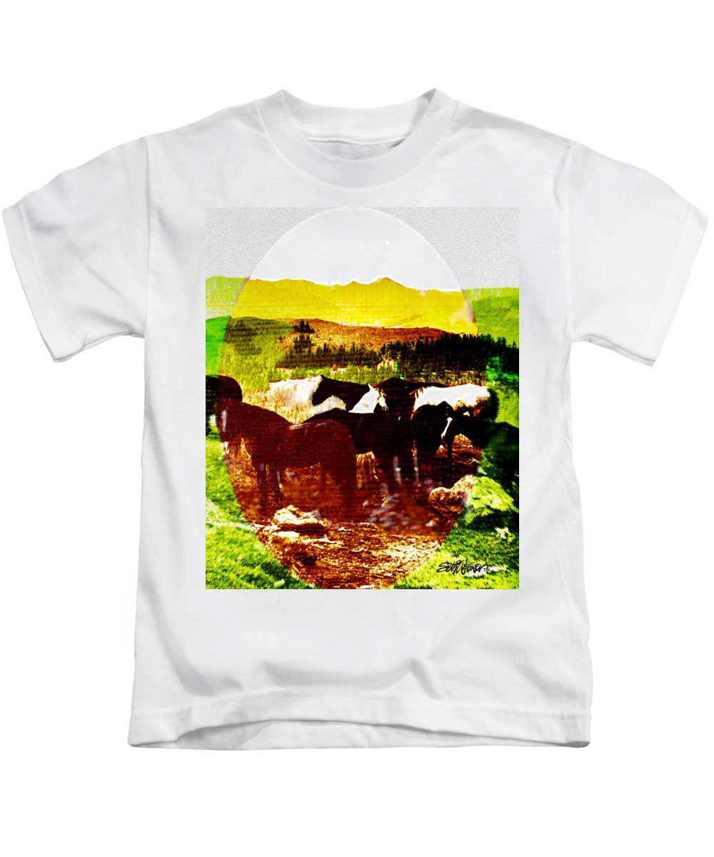 Mustangs Kids T-Shirt featuring the digital art High Plains Horses by Seth Weaver