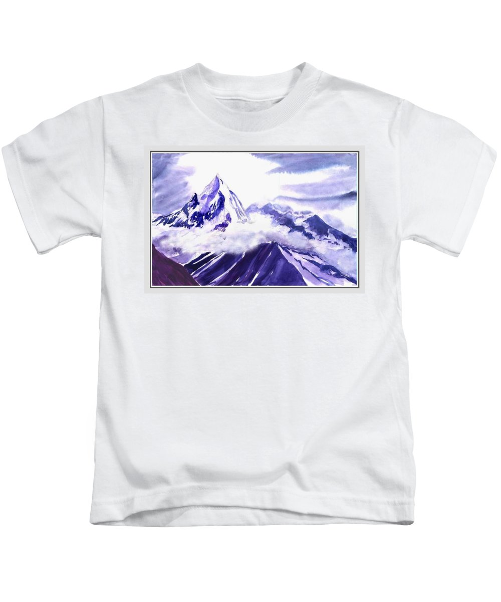 Landscape Kids T-Shirt featuring the painting Himalaya by Anil Nene