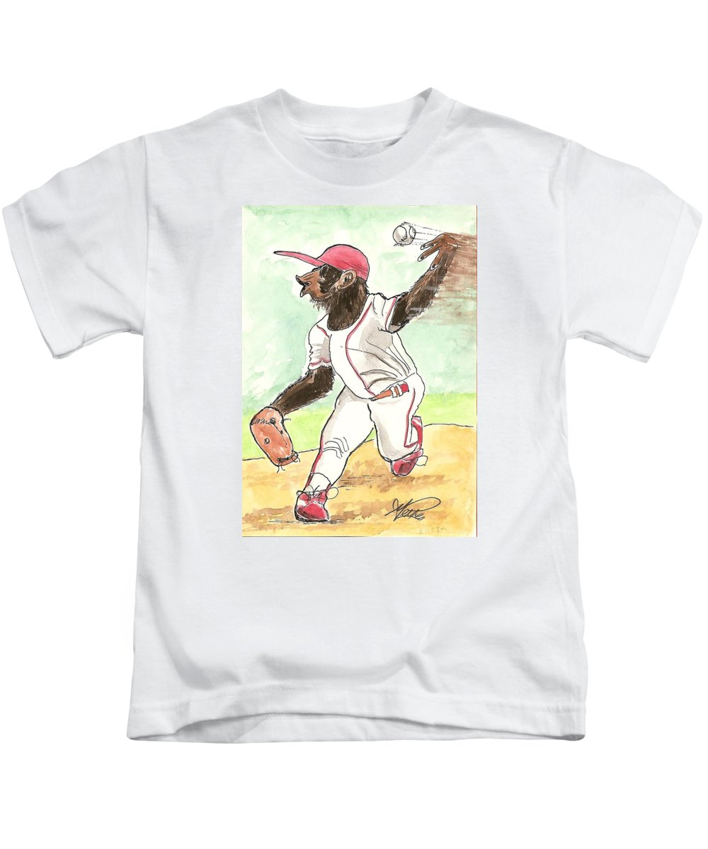 Baseball Kids T-Shirt featuring the drawing Hit This by George I Perez