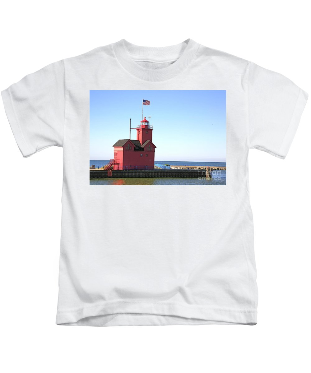 Light House Kids T-Shirt featuring the photograph Holland Mi-big Red by Robert Pearson