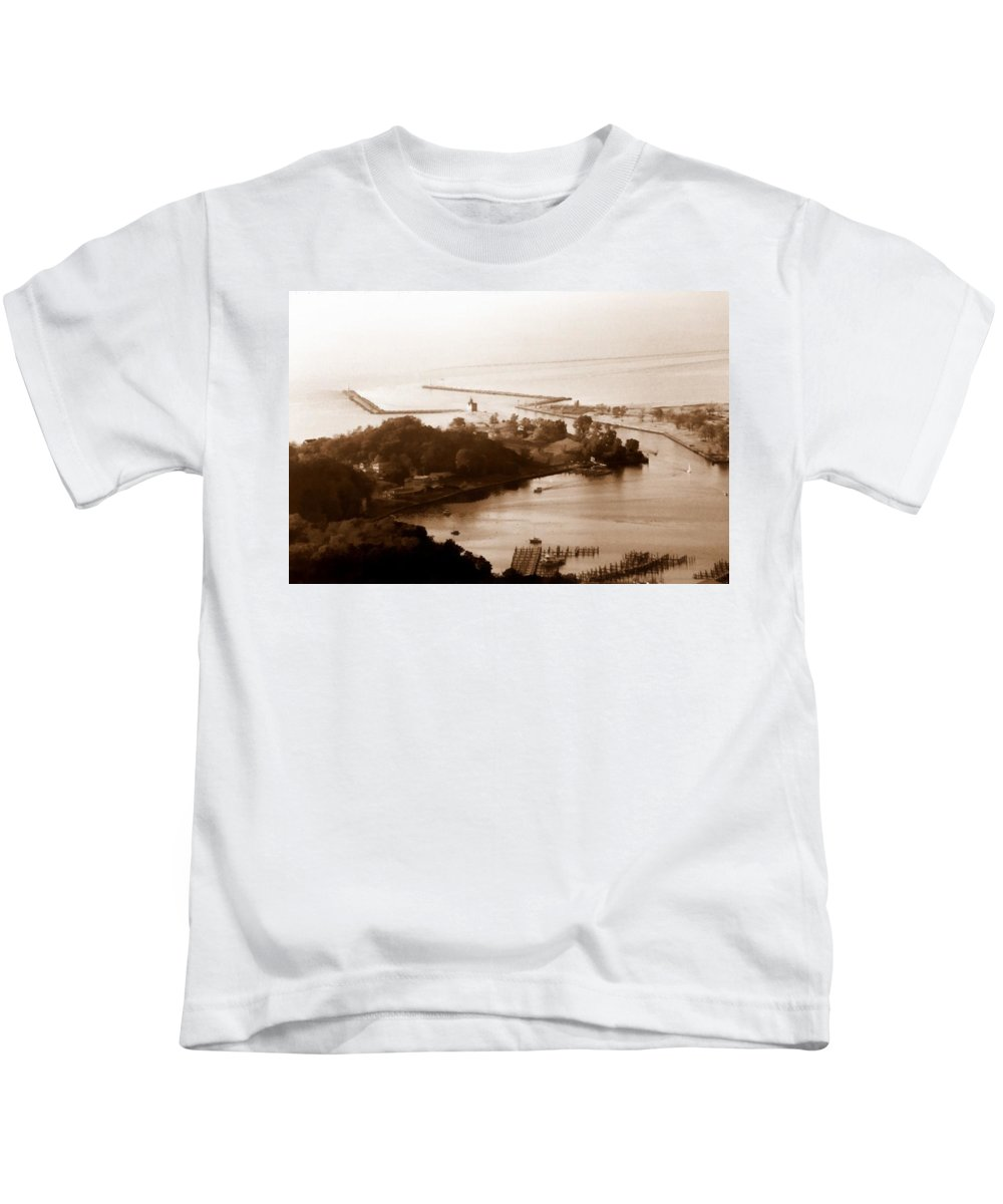 Holland Kids T-Shirt featuring the photograph Holland Michigan Harbor Big Red Aerial Photo by Michelle Calkins