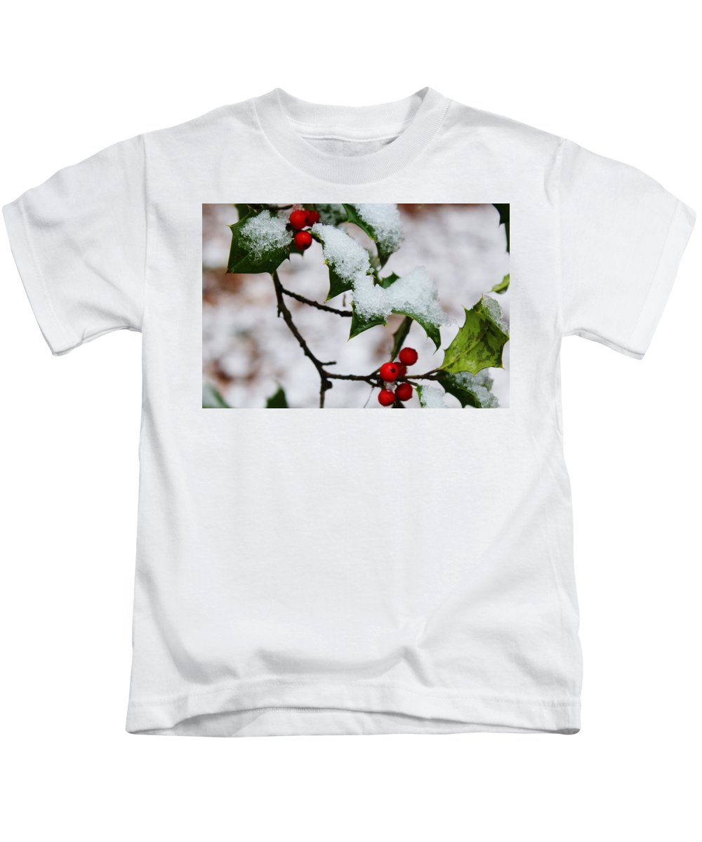 Holly Tree Kids T-Shirt featuring the photograph Holly Tree And Snow by Hunter Kotlinski