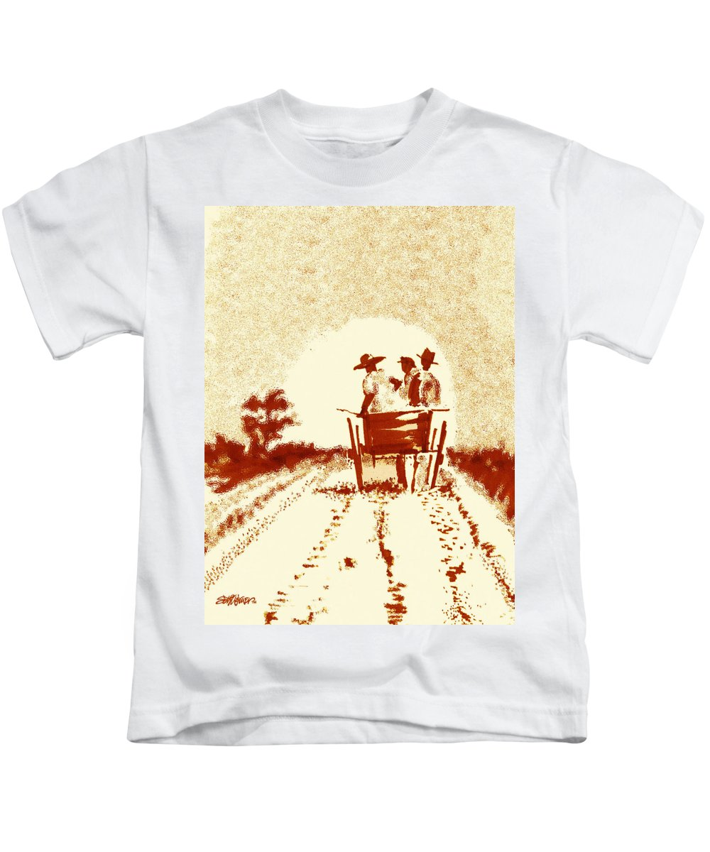 Old South Kids T-Shirt featuring the digital art Home Before Dark by Seth Weaver