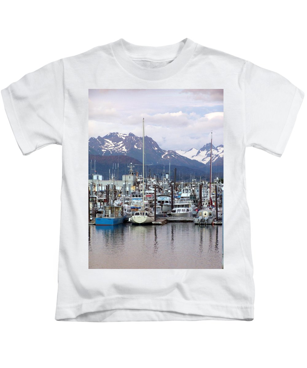 Homer Alaska Kids T-Shirt featuring the photograph Homer Harbor by Marty Koch