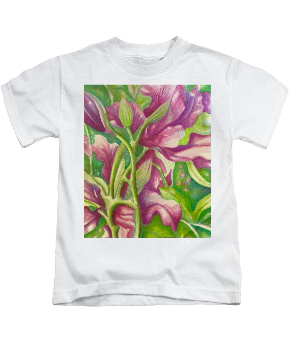 Orchids Flowers Watercolor Hawaii Beach House Kids T-Shirt featuring the painting Hong Kong Orchid by Jamie Laniakea Clark