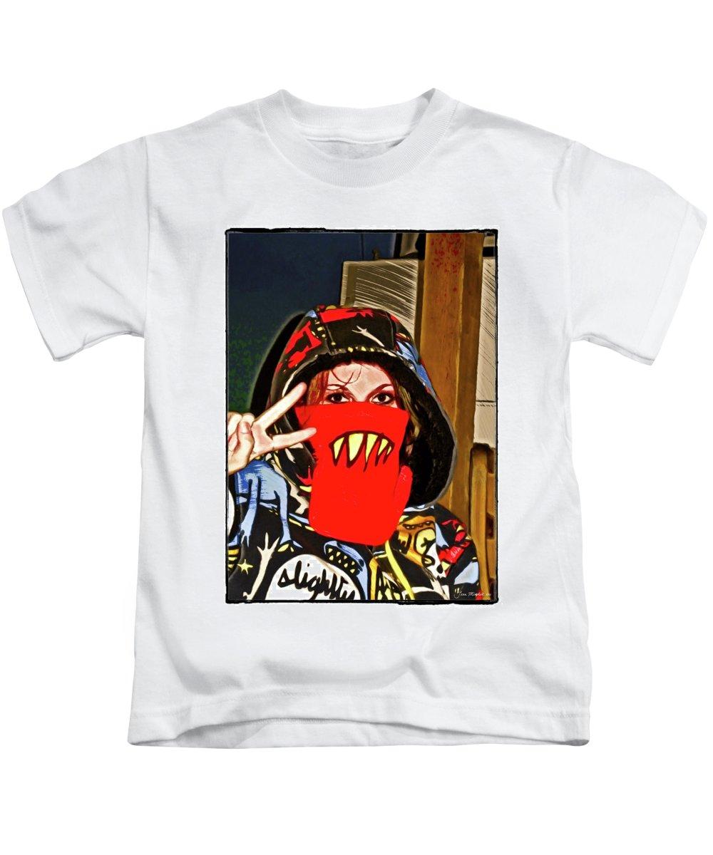 Eyes Kids T-Shirt featuring the digital art Hooded Girl by Joan Minchak